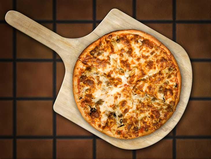 Pizza on Wooden Peel