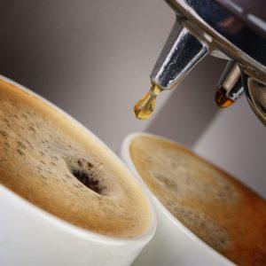 Coffee machine espresso . Process of preparation of coffee