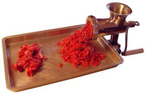 meat grinder working